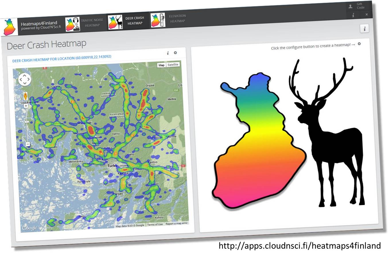 Create detailed deer crash heatmaps with the Heatmaps4Finland application