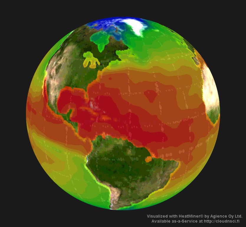 3d heatmap of sea surface temperature