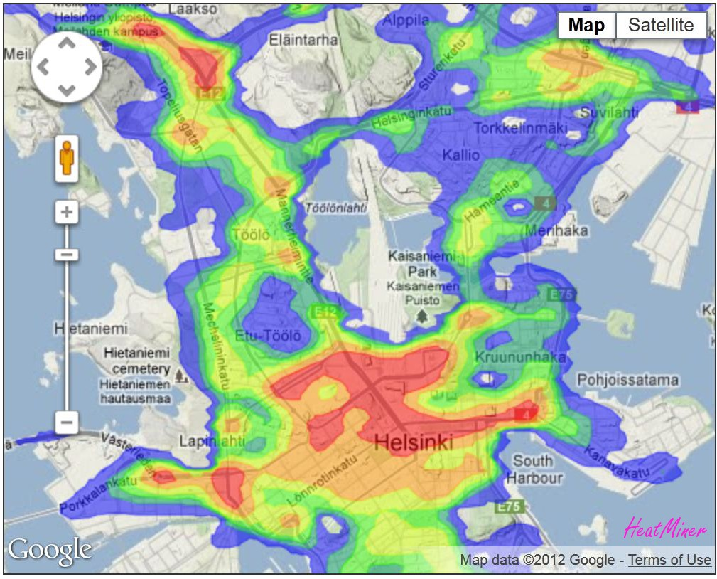 Traffic accidents in Helsinki visualized as a HeatMiner heatmap on Google Maps. Based on open data available at the Helsinki Region Infoshare.
