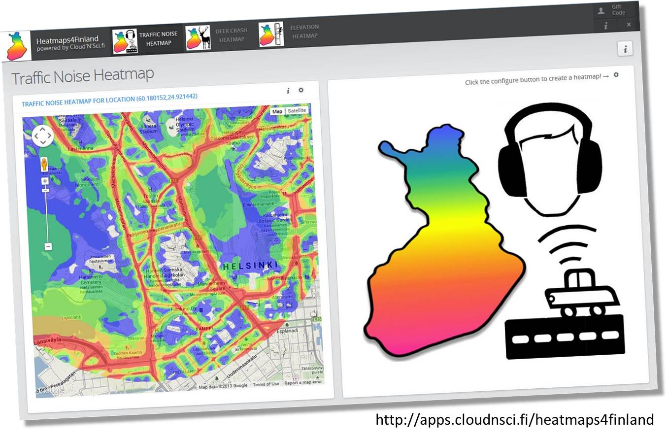 Heatmaps4Finland demonstrates how to build lightweight commercial data refining applications based on the Cloud'N'Sci.fi Algorithms-as-a-Service marketplace