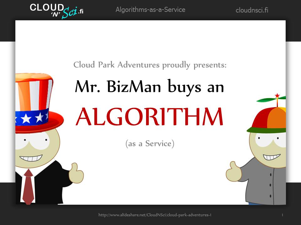 Cloud Park Adventures 1, cover page: Mr. BizMan buys an algorithm (as a service)
