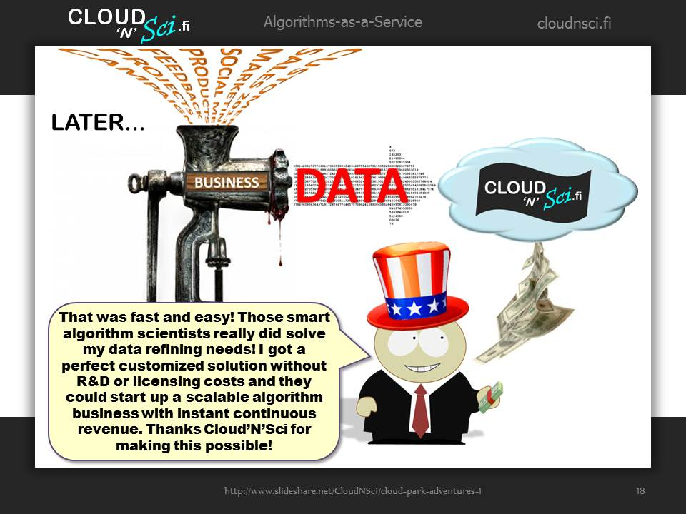Cloud Park Adventures 1, page 18/20: Mr. BizMan refines his business data using algorithms at the Cloud'N'Sci.fi marketplace