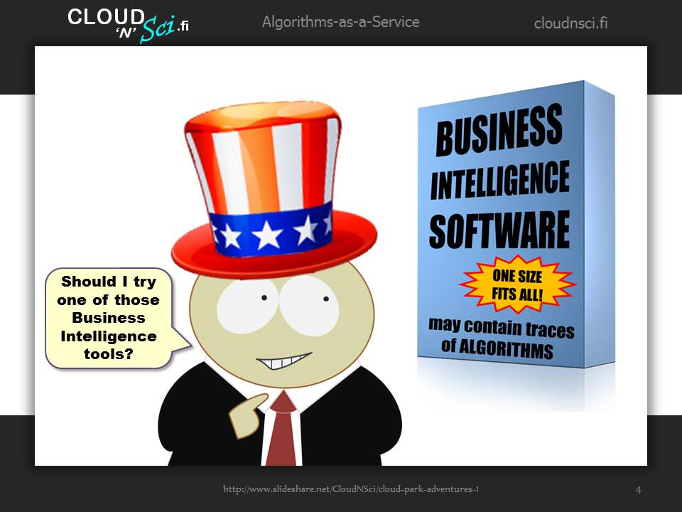 Cloud Park Adventures 1, page 4/20: Mr. BizMan considers Business Intelligence tools